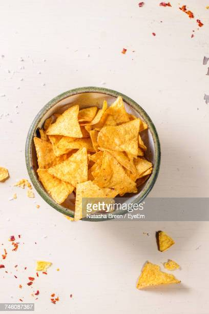 Directly Above Shot Of Nacho Chips In Bowl On Table