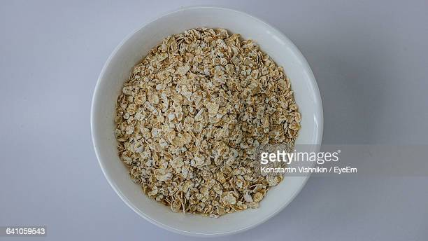 Directly Above Shot Of Oats In Bowl On Table