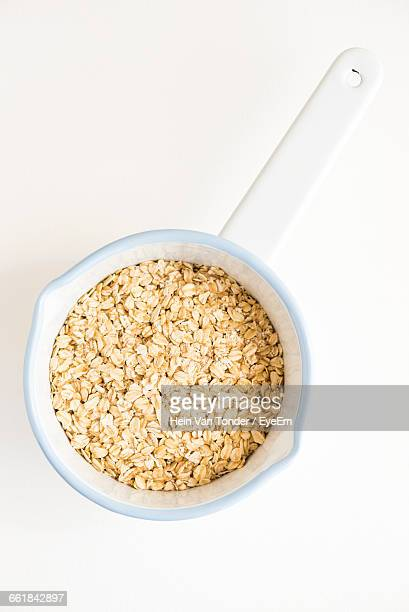 Directly Above Shot Of Oats In Bowl On White Background