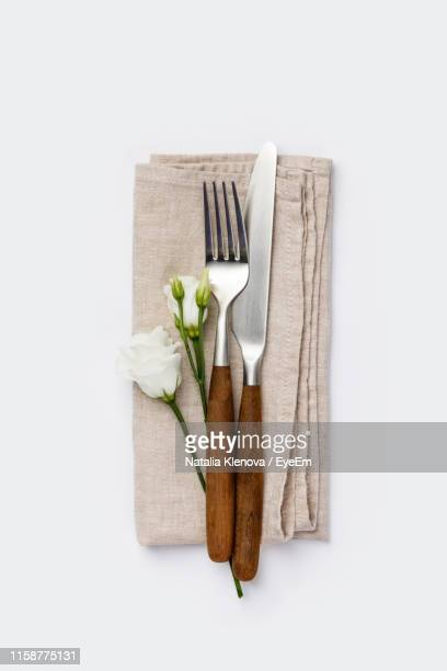 directly above shot of objects against white background - silverware stock pictures, royalty-free photos & images