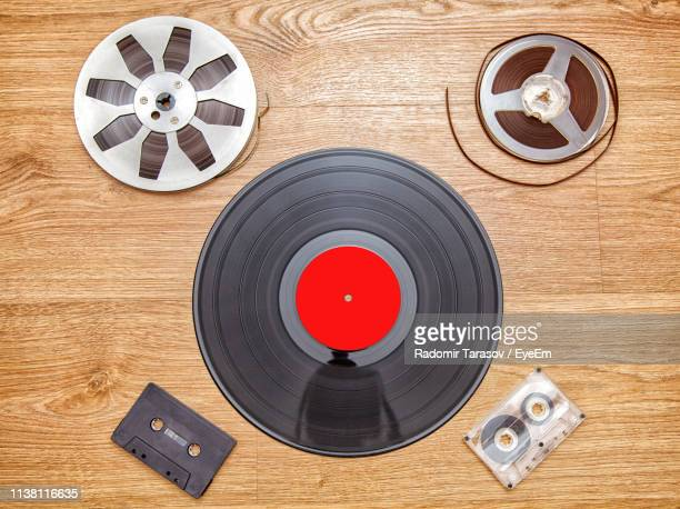 directly above shot of objects on table - record analog audio stock pictures, royalty-free photos & images