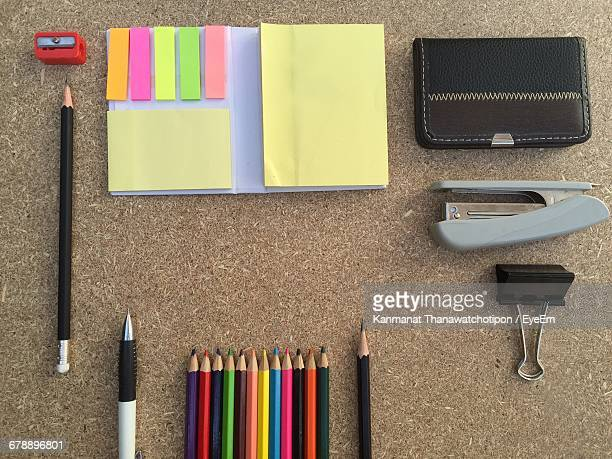 Directly Above Shot Of Office Supplies On Table
