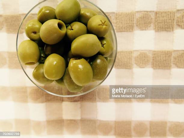 Directly Above Shot Of Olives In Bowl On Table