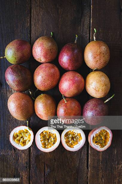Directly Above Shot Of Passion Fruits On Table