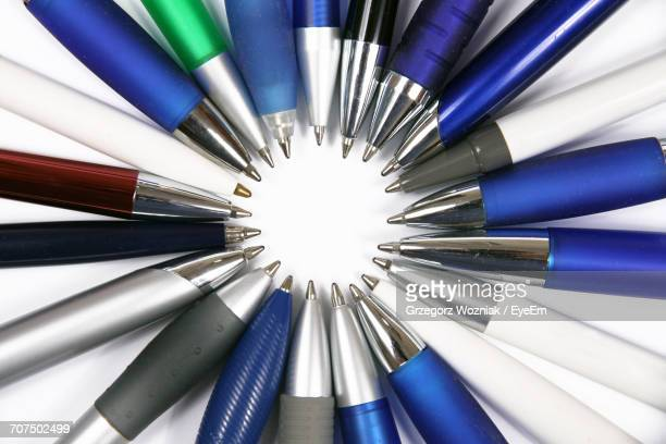 Directly Above Shot Of Pens Arranged On Table