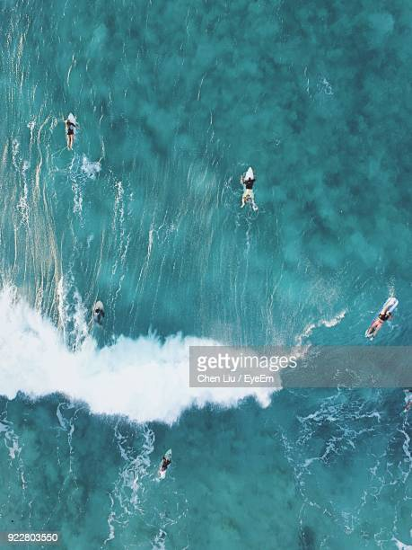 directly above shot of people surfing in sea - five people stock pictures, royalty-free photos & images