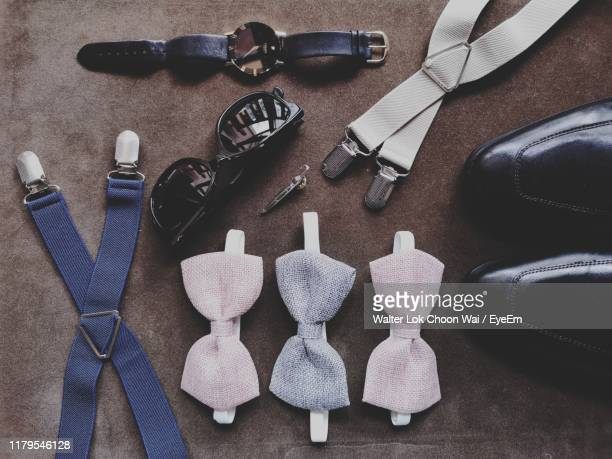 directly above shot of personal accessories - suspenders stock pictures, royalty-free photos & images