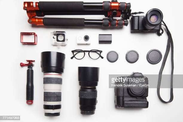 Directly Above Shot Of Photographic Equipment On White Background