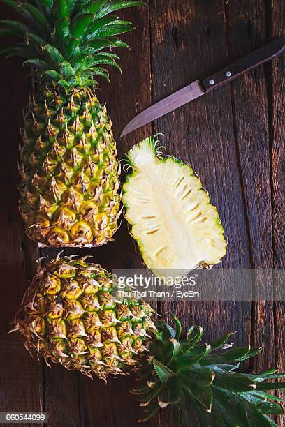 Directly Above Shot Of Pineapples On Table