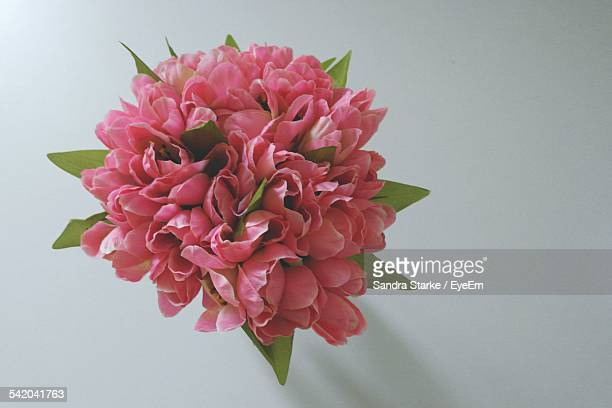 Directly Above Shot Of Pink Flower Bouquet On Table