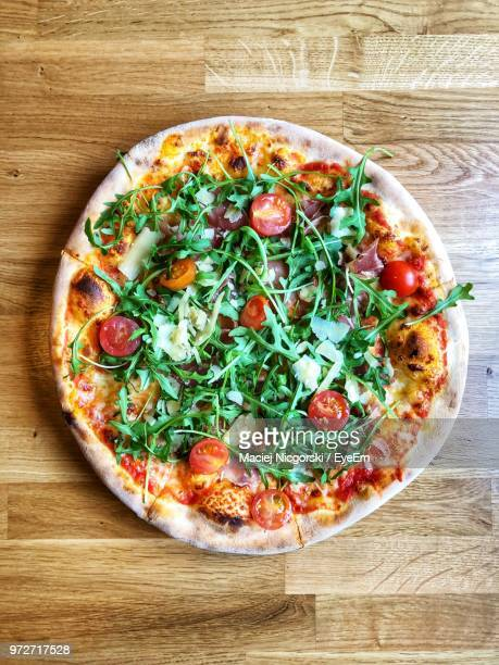 Directly Above Shot Of Pizza In Plate On Table