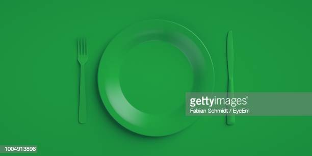 directly above shot of place setting on green background - silverware stock pictures, royalty-free photos & images