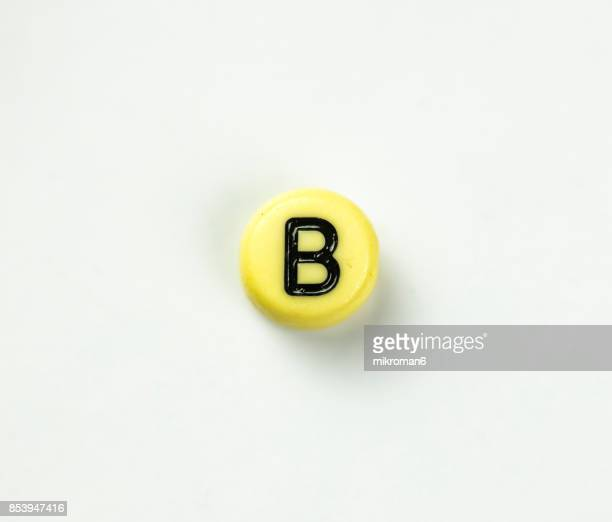 Directly Above Shot Of Plastic Capital Letter B On white background