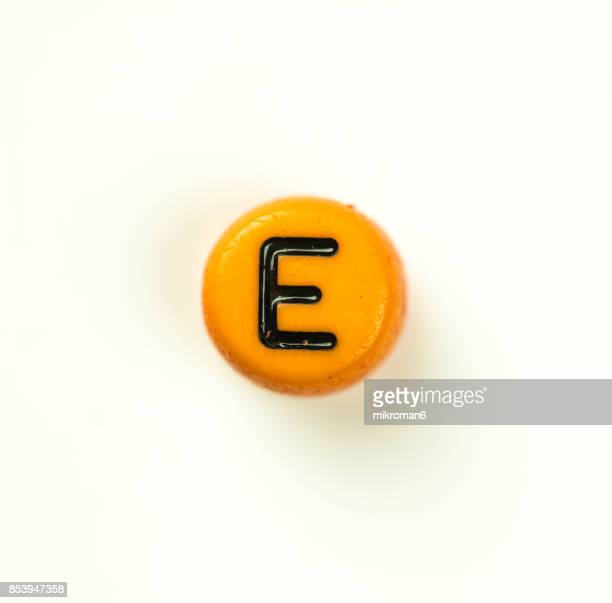 Directly Above Shot Of Plastic Capital Letter E