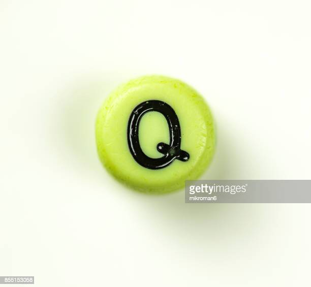 Directly Above Shot Of Plastic Capital Letter Q On white background