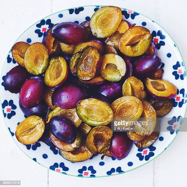 Directly Above Shot Of Plums Served In Plate
