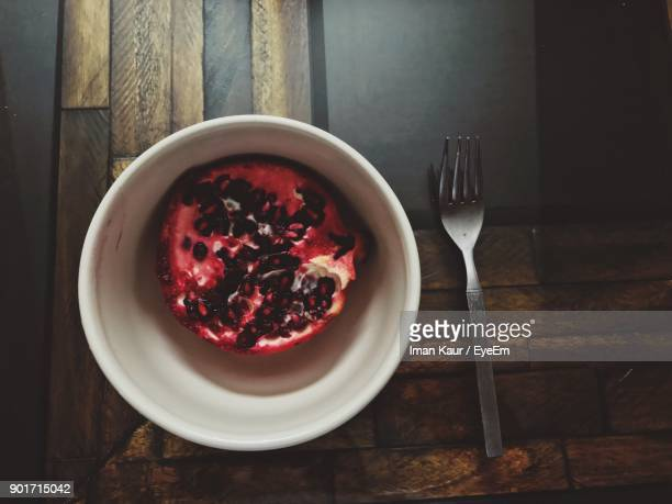 Directly Above Shot Of Pomegranate In Bowl On Table