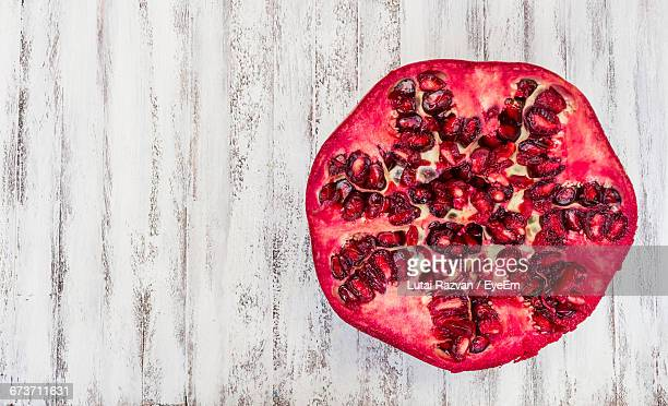 Directly Above Shot Of Pomegranate On Table