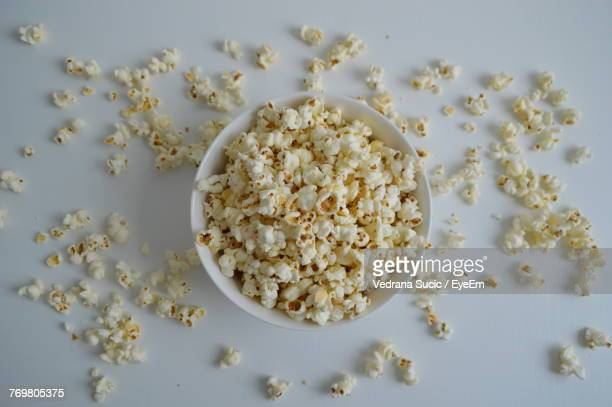 Directly Above Shot Of Popcorns In Bowl On Table