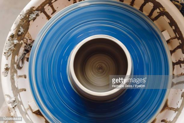 directly above shot of pottery wheel - pottery stock pictures, royalty-free photos & images