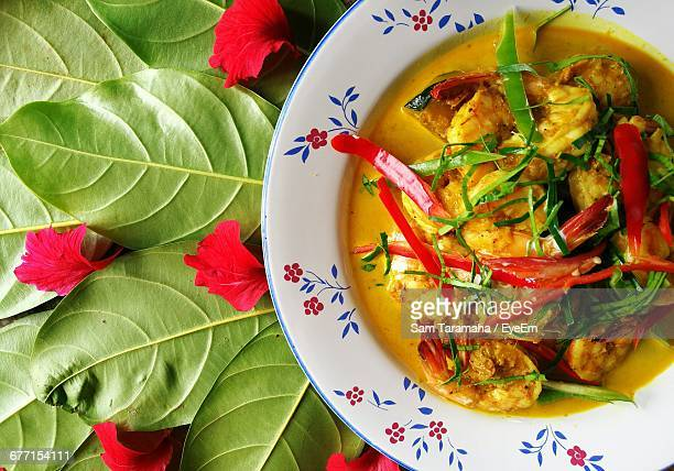 Directly Above Shot Of Prawns Curry Served In Bowl