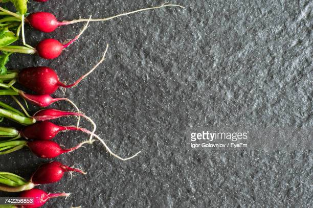 directly above shot of radishes arranged on slate - igor golovniov stock pictures, royalty-free photos & images