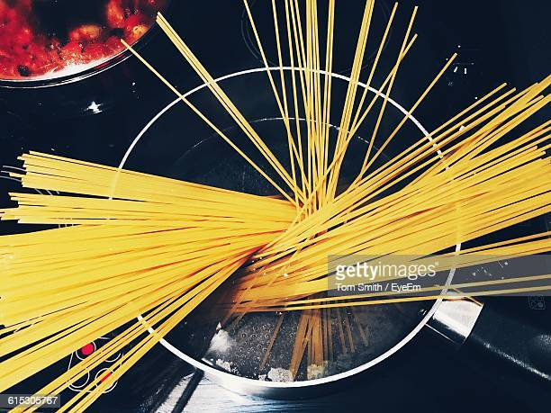 Directly Above Shot Of Raw Pasta In Saucepan
