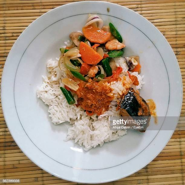 Directly Above Shot Of Rice And Vegetables Served On Plate