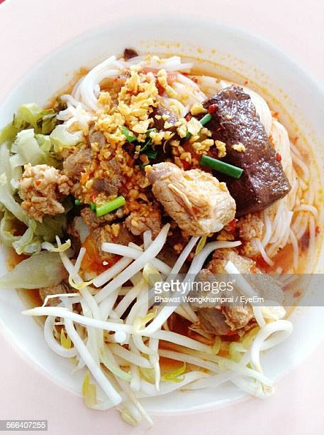 Directly Above Shot Of Rice Noodles Served With Bean Sprout And Pork