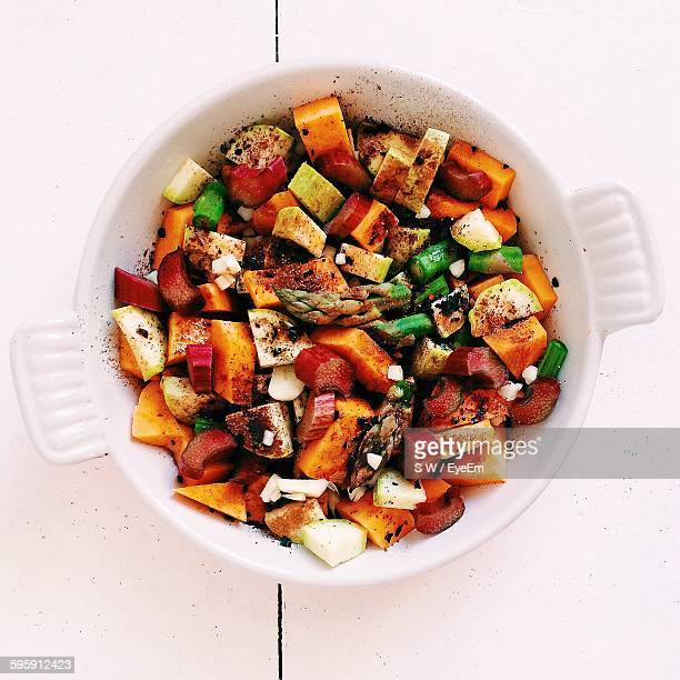 Directly Above Shot Of Roasted Vegetables In Container