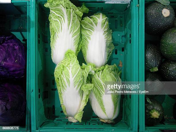 directly above shot of romaine lettuce at market stall - romaine lettuce stock photos and pictures