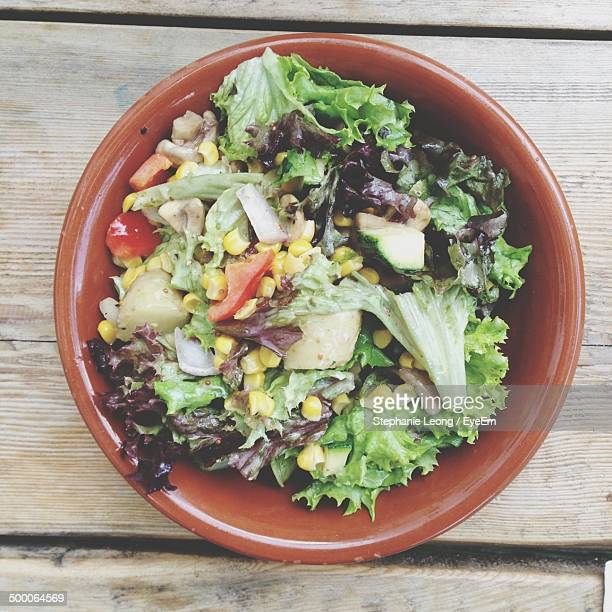Directly above shot of salad in bowl