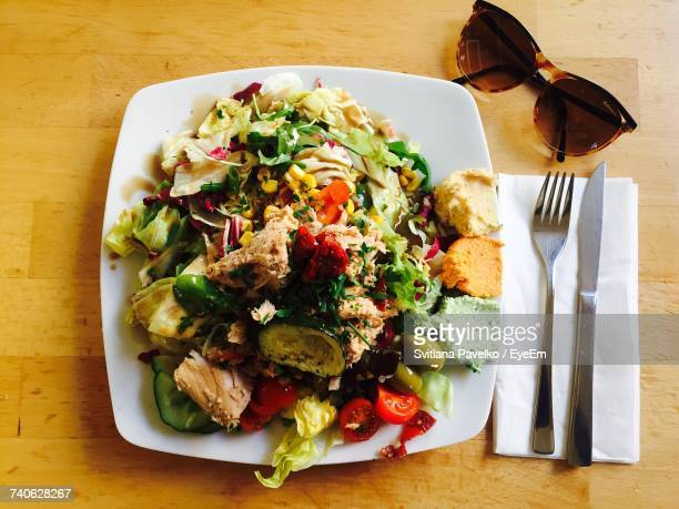 Directly Above Shot Of Salad In Plate On Table