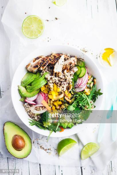 directly above shot of salad served in bowl on table - bowl stock pictures, royalty-free photos & images