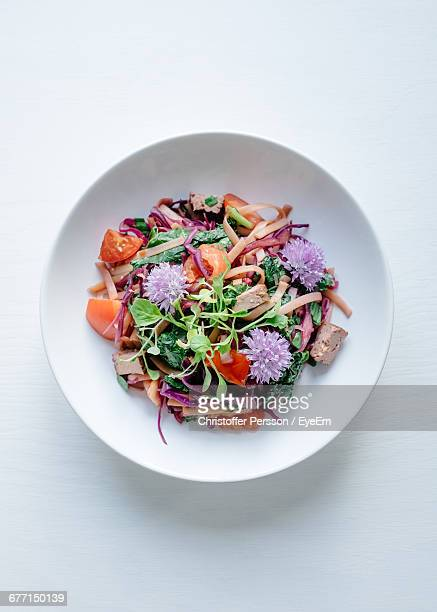Directly Above Shot Of Salad Served In Plate On White Background