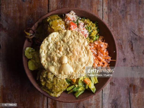 directly above shot of salad served on table - sri lanka stock pictures, royalty-free photos & images