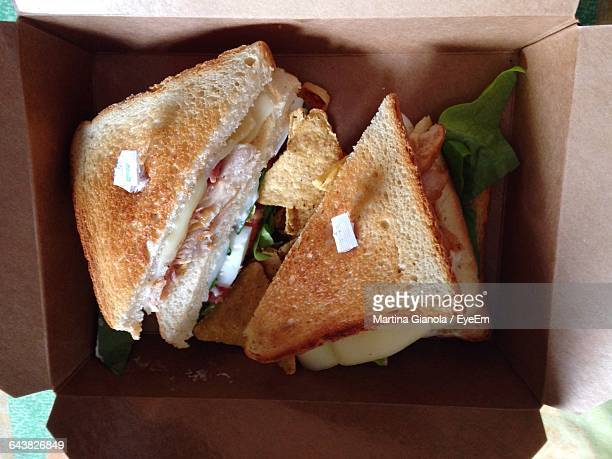 Directly Above Shot Of Sandwiches In Box