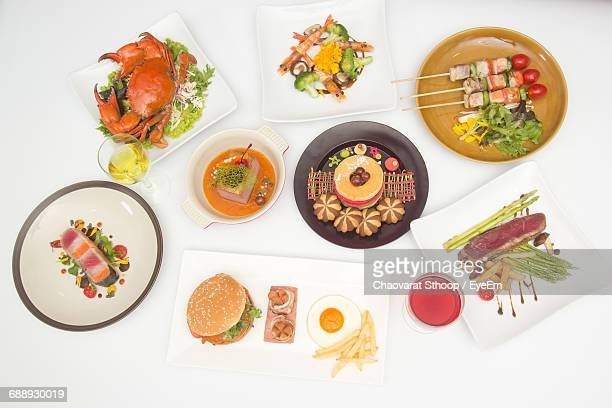 Directly Above Shot Of Served Food On Table