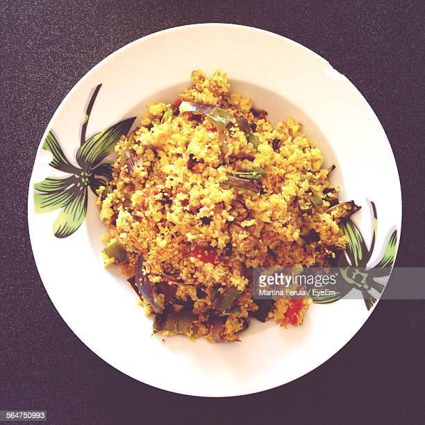 Directly Above Shot Of Served Fried Rice In Plate