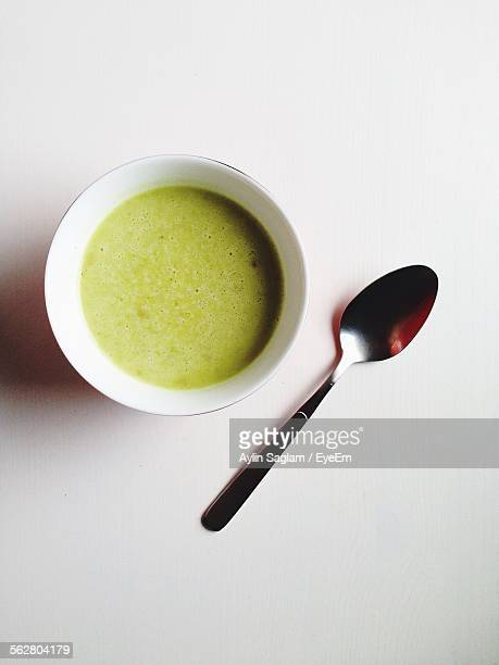 Directly Above Shot Of Served Matcha Coffee