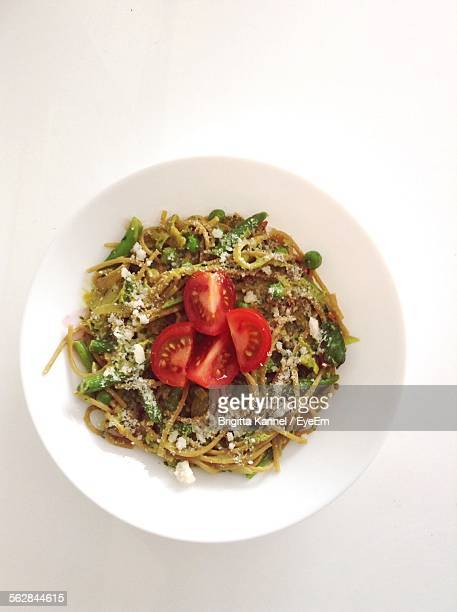 Directly Above Shot Of Served Spaghetti Noodles In Plate