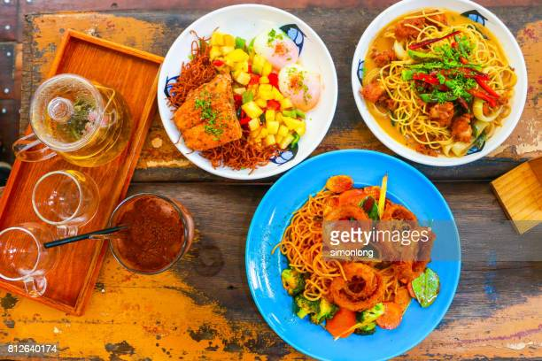 directly above shot of serving western food on table - soy sauce stock photos and pictures