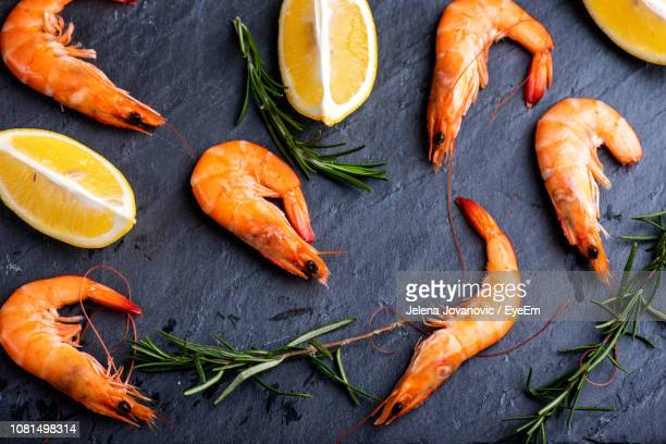directly above shot of shrimp and herbs with lemons on slate - えび ストックフォトと画像