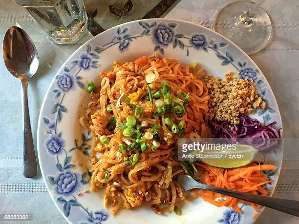 Directly Above Shot Of Shrimp Pad Thai Served On Table