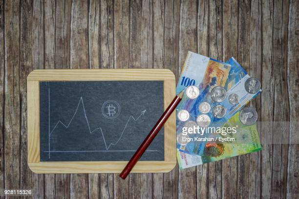 Directly Above Shot Of Slate With Graph By Currency On Table