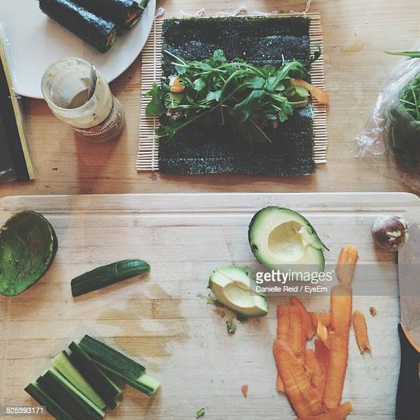 Directly Above Shot of Sliced Vegetables On Cutting Board