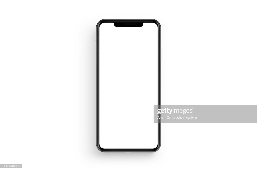 Directly Above Shot Of Smart Phone With Blank Screen Against White Background : ストックフォト