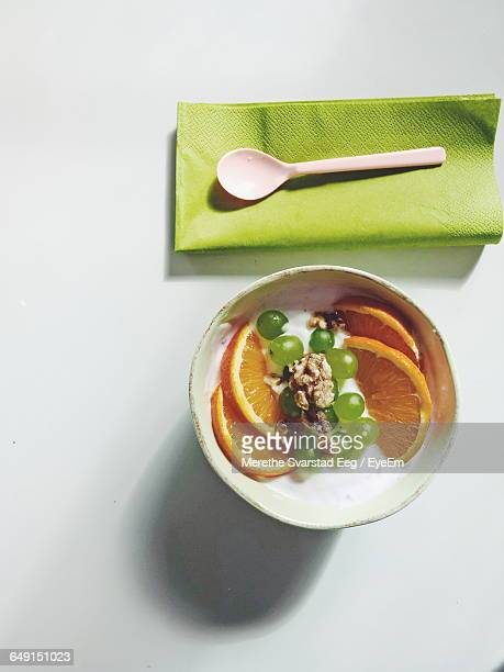 Directly Above Shot Of Smoothie Served In Bowl On White Background