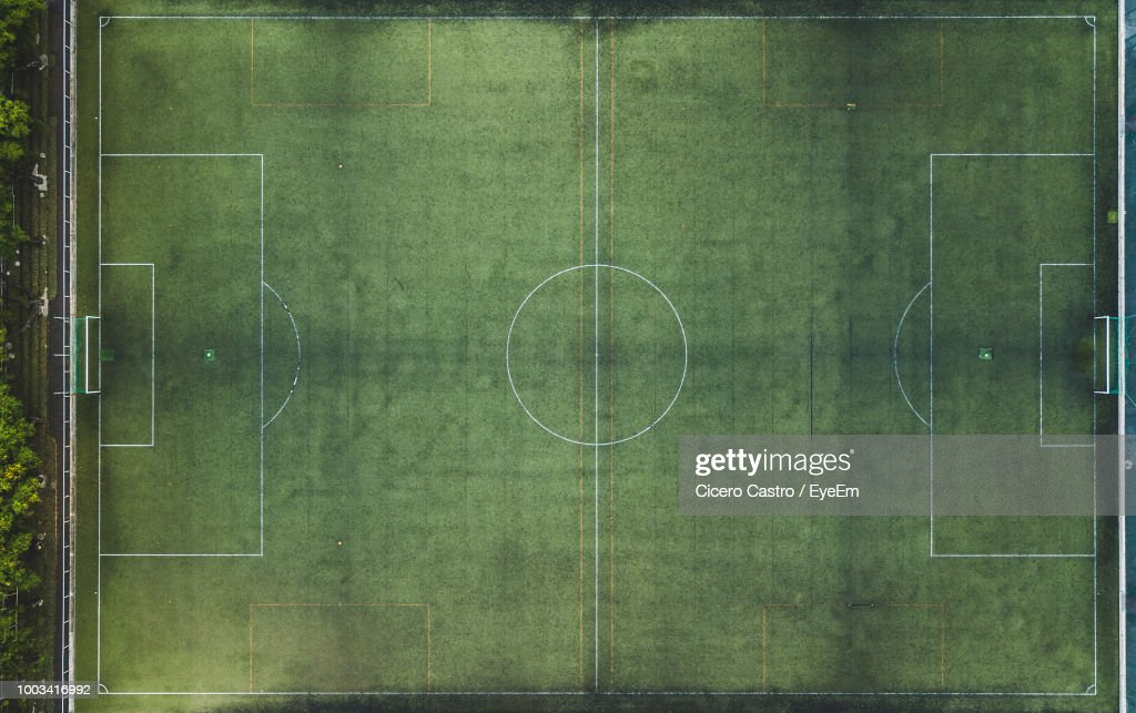 5ed79597a Directly Above Shot Of Soccer Field Stock Photo | Getty Images