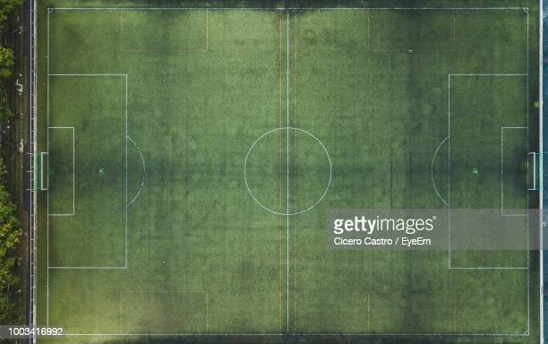 directly above shot of soccer field - football pitch stock pictures, royalty-free photos & images